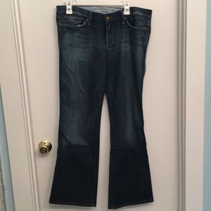 Joes Jeans with some intentional distressing